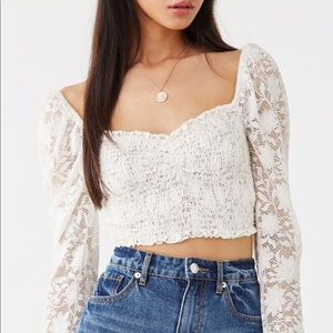 NWT Sheer Smocked Lace Crop Top